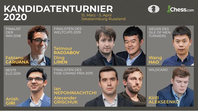Teilnehmer am Kandidatenturnier in Jekatarinenburg (Russland)