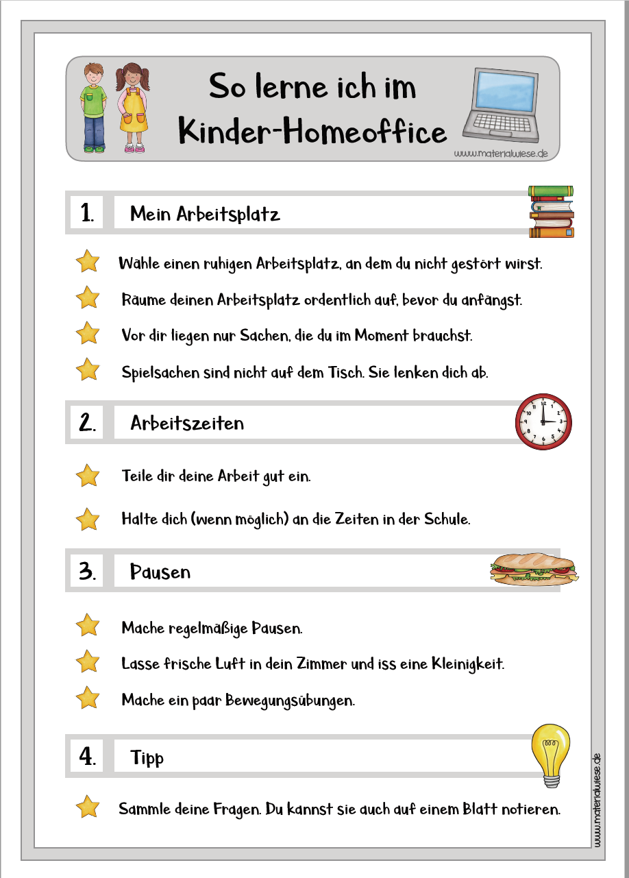 Arbeitsumfeld effizientes Lernen zuhause Kinder-Homeoffice
