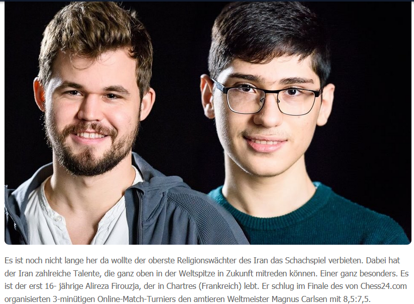 Nachwuchstalent Alireza Firouzja (Iran) Magnus Carlsen (Norwegen)