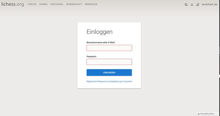 Einloggen - Login bei lichess.org