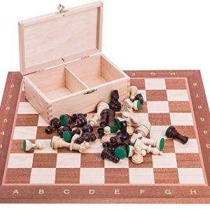 Pro Schach Set Mahagoni Staunton Figuren inkl. Transportbox